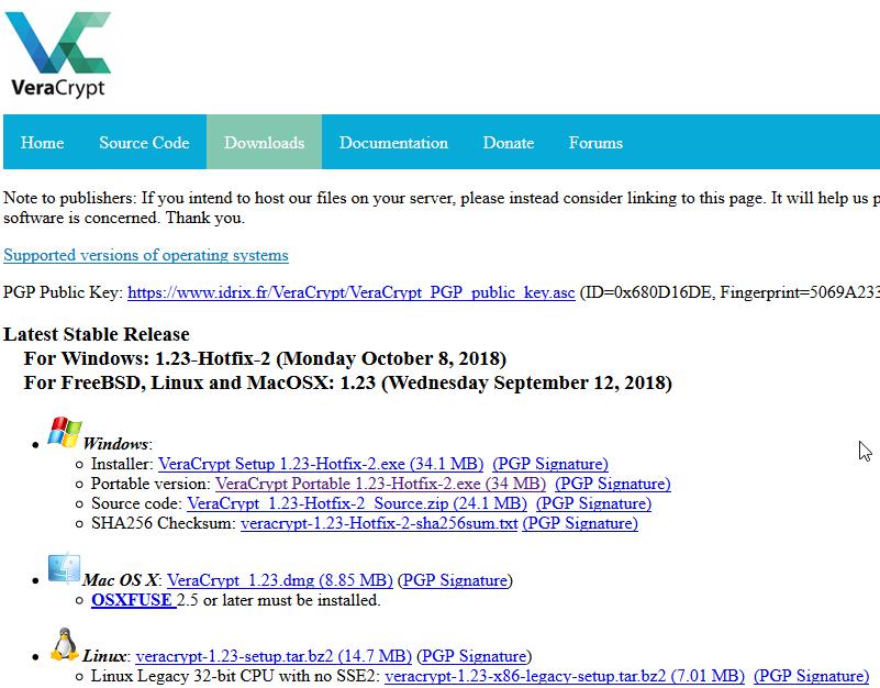 Page de téléchargement officielle de VeraCrypt